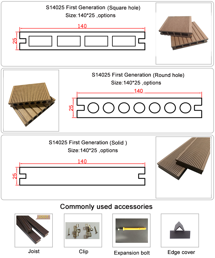 Hot Sale Trex Wood Plastic Composite Decking Board for Garden