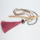 Knotted Necklace Sweater Chain Matte Glass Beads Necklace with red Tassel & Gem Pendant Bead Jewelry