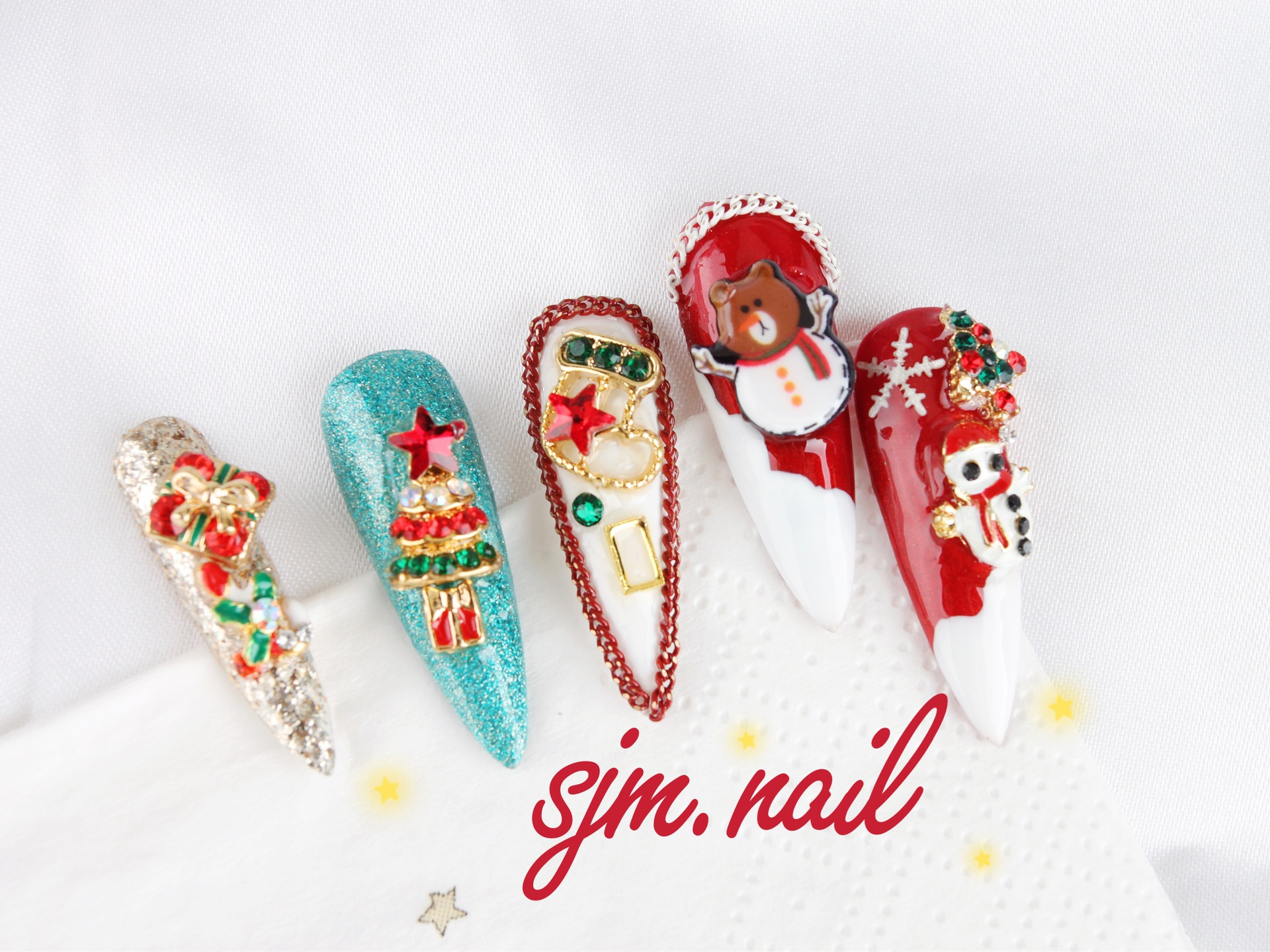Japanese Style Christmas New Design Snowflakes Nail Chain Accessories Nail Glitter