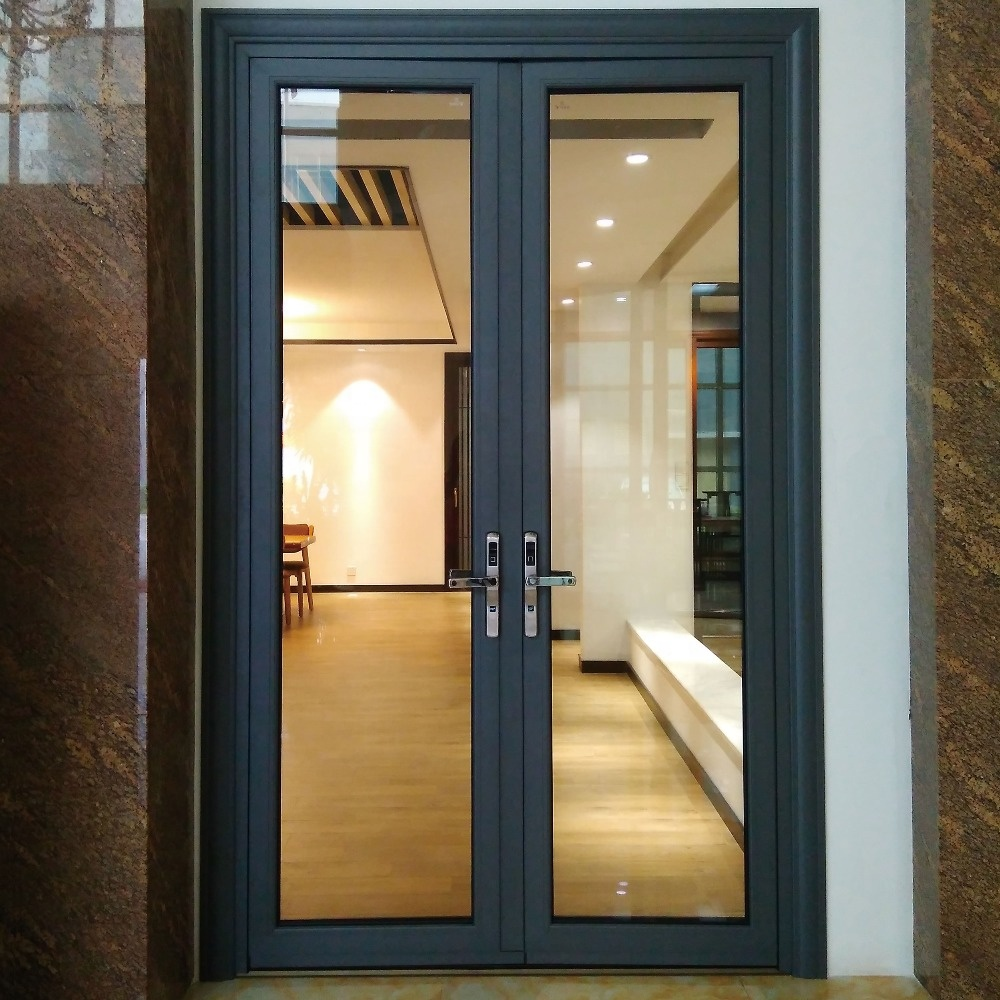 French style aluminium front double entry exterior casement door with glass residential for homes