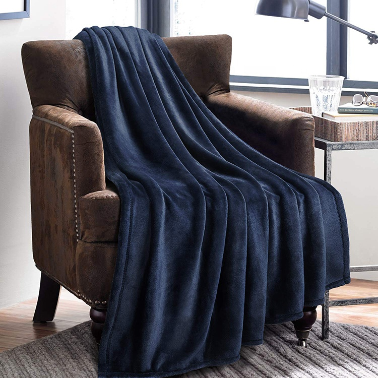 Fleece Blanket Navy Blue King Size Flannel Lightweight Microfiber