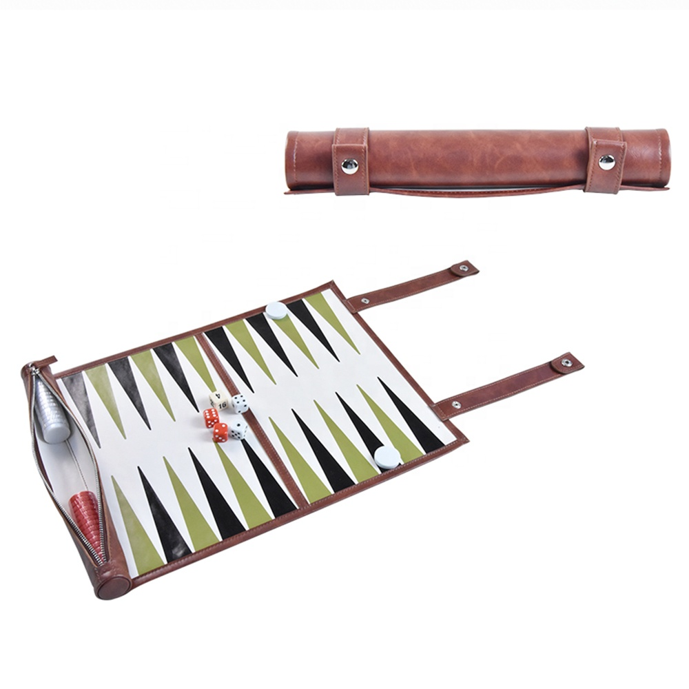 leather travel roll up backgammon