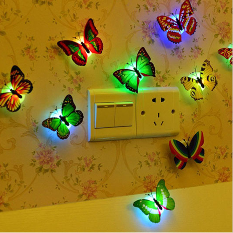 Interior casa escritorio decoración de la pared de cambiar 3D LED mariposa luz de la noche