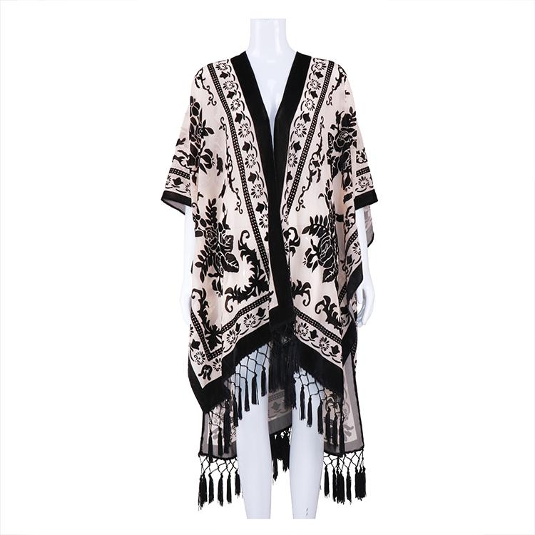 Wholesale Ladies tassel blouse Burnout velvet kimono