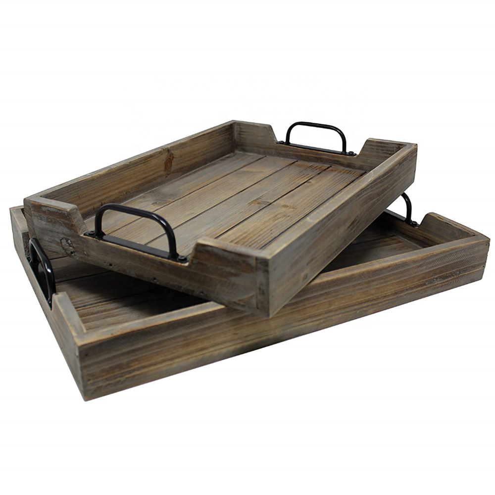 Rustic retro nesting Wood Serving Tray Set For Coffee Table or Ottoman For Kitchen Dining Room or Living Room desktop decoration