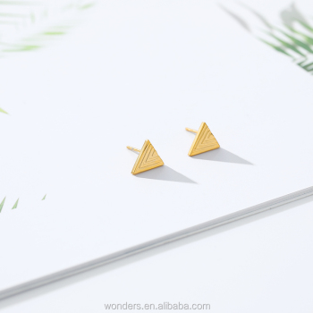 Gold Triangle Statement Stud Earrings For Women, Modern Stud Earrings Girls