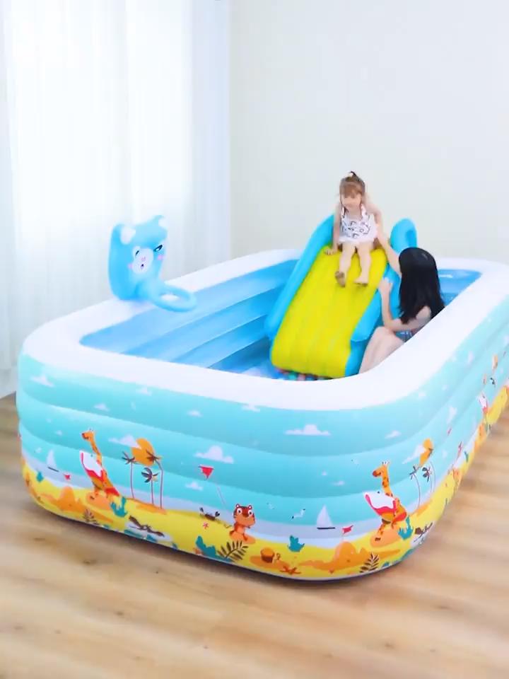 झटका अप Inflatable पूल खेलने के केंद्र के साथ आउटडोर Inflatable पूल स्लाइड
