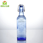 china factory custom 500ml blue spirits glass bottle 50cl square gin liquor vodka rum drink bottle with flip swing top cap