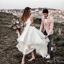 LORIE-Элегантное шифоновое свадебное платье с V-образным вырезом, винтажное свадебное платье без рукавов 2020(China)