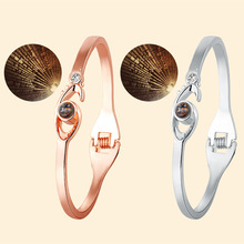 Saint-Valentin Rose Or 100 langues Je t'aime Projection Mode <span class=keywords><strong>Charme</strong></span> Femmes Bracelet