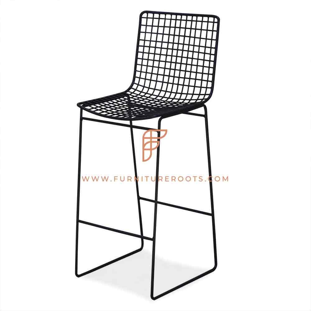 Metal Mesh Industrial Long Bar Chair Indian Restaurant Furniture