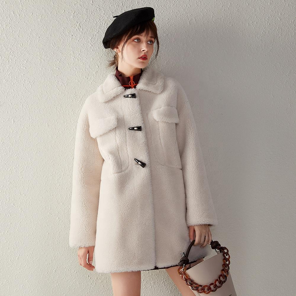सर्दियों महिलाओं देवियों टेडी नरम झपकी के साथ ओवरकोट shearling खाई कोट ऊन कोट
