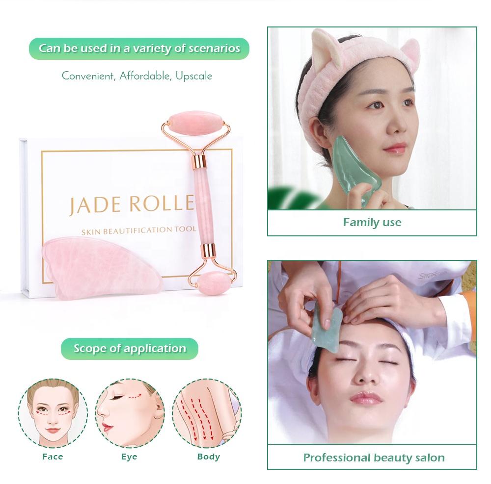 Rose Quartz Roller Slimming Face Massager Lifting Tool Natural Jade Facial Massage Roller Stone Skin Massage Beauty Care Set Box