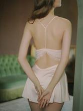 Ночная рубашка Nightingale, новинка, сексуальная однотонная кружевная Шелковая гладкая Красивая Ночная рубашка с открытой спиной, женское Шелко...(Китай)