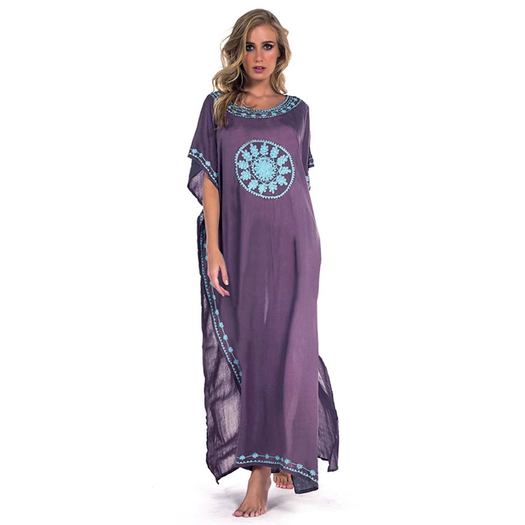 2019 Embroidered Women Kaftan Dress Long Beach Bikini Cover ups Dress