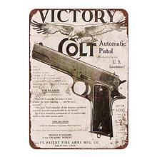 Винтажные металлические оловянные вывески, пистолет для паба, автоматическая винтовка и пули. Все виды пистолетов, настенный Железный пост...(Китай)
