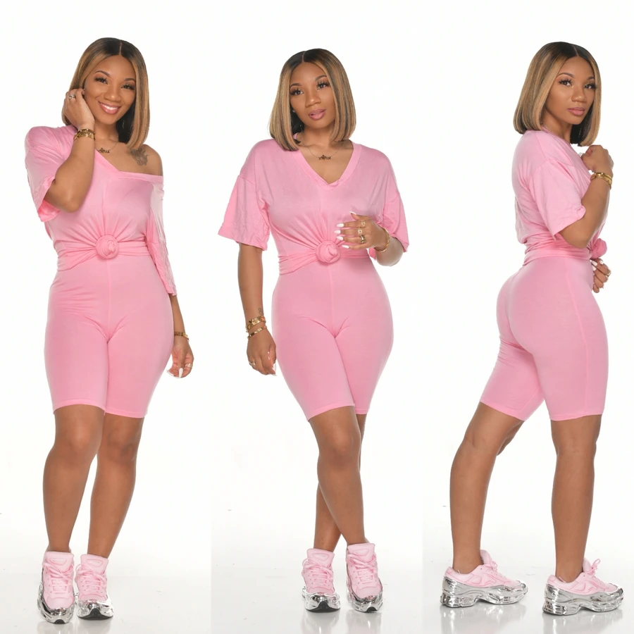 Women off the shoulder summer tracksuit solid suits t-shirts two piece jogger set casual shorts women FM-H6133