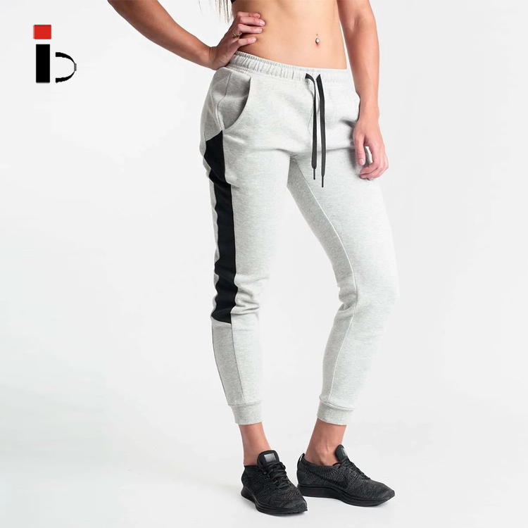 New Fashion Women Grey Colorblock Sports Track Pants