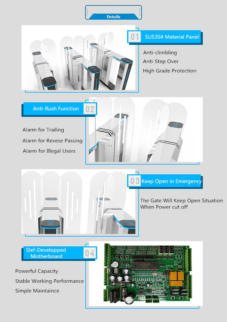 flap gate with rfid access control