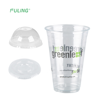 Custom made printing logo crystal clear 16oz pet compostable disposable plastic biodegradable cups