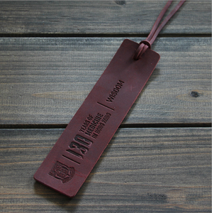 Vintage design personalized genuine natural leather bookmark with embossed logo