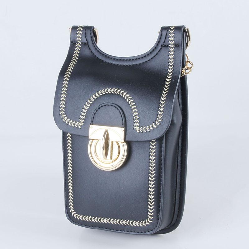 Mini bolso bandolera para mujer con remaches para teléfono móvil, billetera, moneda, teléfono celular, tarjeta, bolso de hombro, tarjeta de crédito,