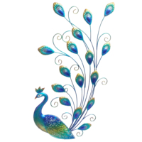 Garden Huge Size Metal With Fused Glass Wings Peacock Design Wall Art Decoration