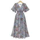 2020 trendy women clothing chiffon plus size holiday floral V neck casual long dress