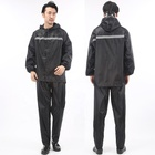 Black oxford fabric PVC coating rainsuits water proof dettached hood adult reflective rain suit for men