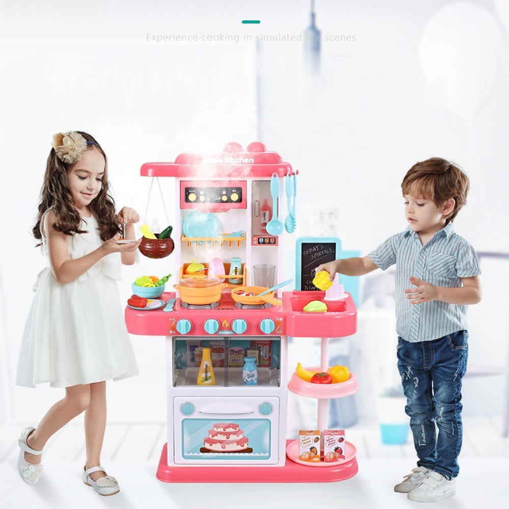 63CM Light UP Water Pretend Play Kids Cooking Table Set Kitchen Toy With Spray