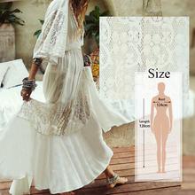 Женские платья 2020 элегантный длинный белый кружевной сарафан сексуальное открытое Спереди Платье макси с глубоким v-образным вырезом и обо...(Китай)