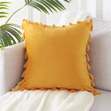 Topfinel мягкий бархат кидает наволочки украшения наволочки квадрат с кисточкой для дивана; для кровати; для автомобиля дома свадьба подушка(Китай)