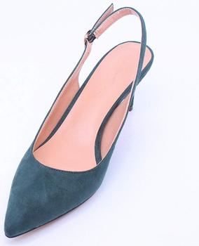 2019 Hot Selling Handmade Wholesale Green Women High Quality Suede Leather Sling Backs Heel Shoes