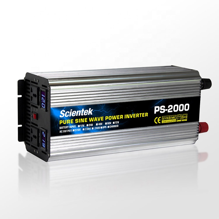 Power Inverter pure sine wave 2000 W 12V//24V//48V à 120//220//230//240V 50//60HZ LCD