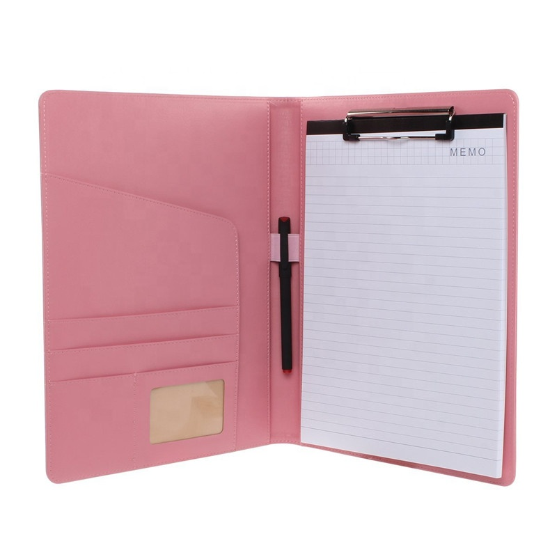 High Quality Leather Custom File Folder Padfolio with Clipboard