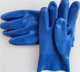 40cm long cuff blue PVC coated sandy finished water proof safety gloves