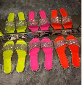 SD-078 fashion glitter candy color sequined decorated open toe slipper PVC cross strap beach sandals for women
