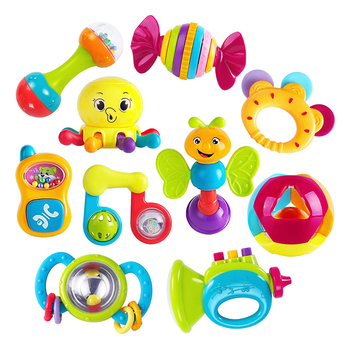 Early Educational Toys Itty Bitty Friend Sleeping Hanging Rattles 10pcs Baby Rattles Teether Musical Toy Set Kids Baby Toys