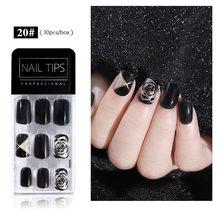 Новый продукт популярный дизайн 30 шт ультра-тонкие и бесследные узоры для ногтей для съемных поддельных ногтей(Китай)
