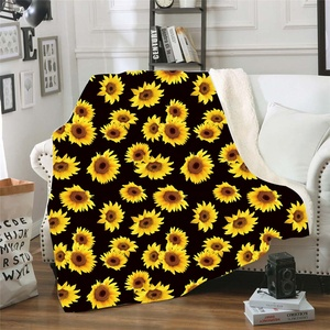 Wholesale Personalized Adult Sherpa Fleece Weighted Blanket Sunflowers Leopard Pattern Soft Throw Sofa Blanket For Nap Wrap