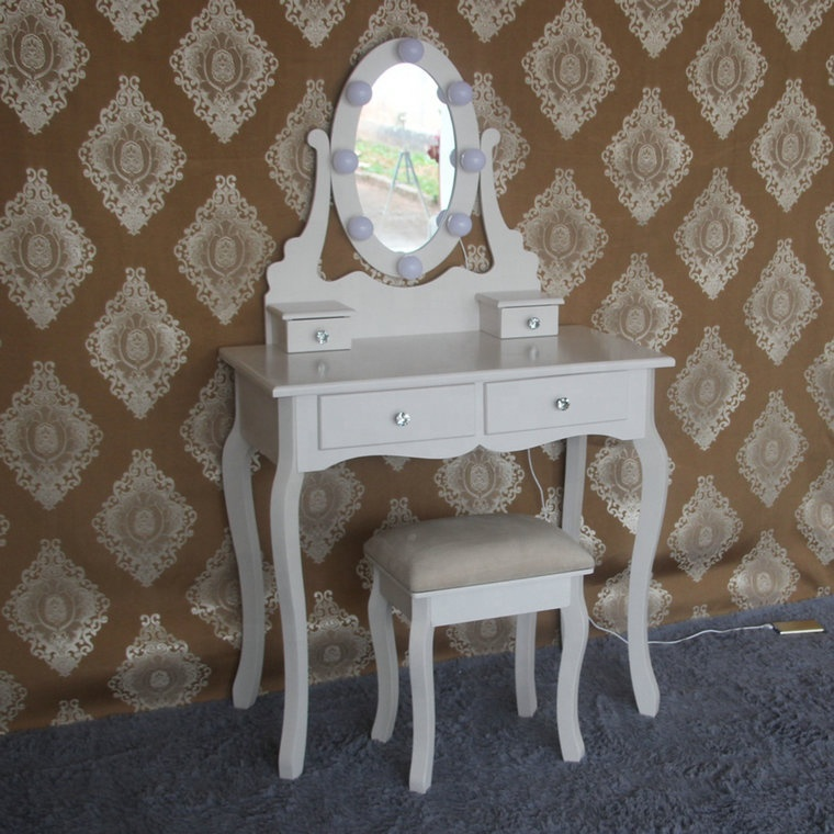 Ivory Hollywood Vanity Dressing Table with lights and Stool