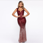 Deep V Bodycon Tube One Night Sequin Mermaid Gown Rose Red Gold Sexy Evening Dress