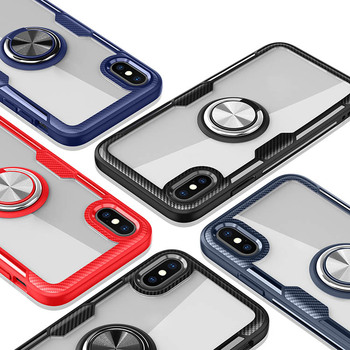 Shockproof acrylic magnetic ring holder transparent phone case cover for iphone 6 7 8 plus x xr xs max