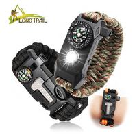 Brand New 5 In 1 survival tactical whistle compass fire starter 550 paracord bracelet with flint