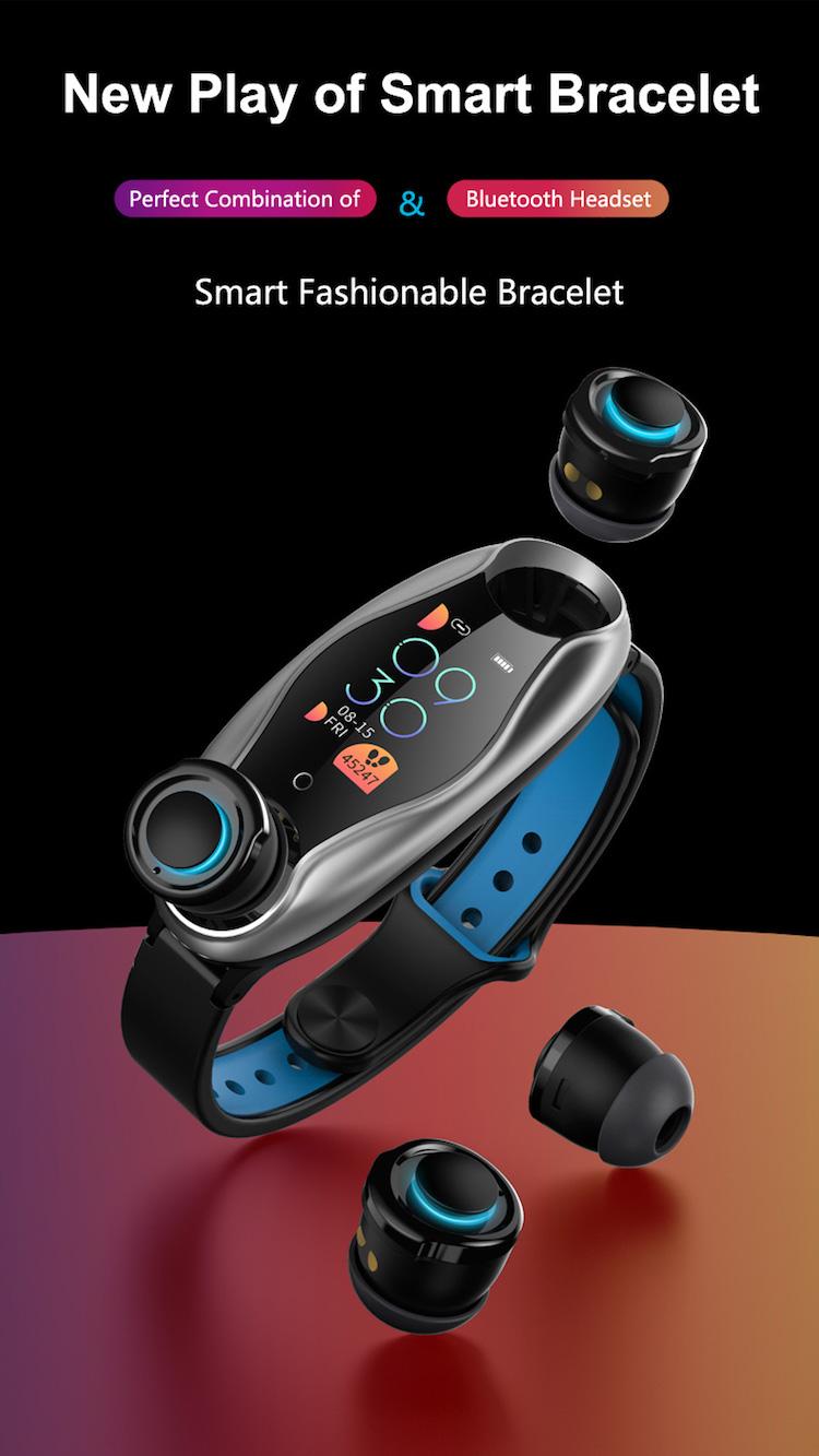 Hot intelligent blood pressure monitor T90 headphones watch blue tooth 2 in 1 earphones smartwatch
