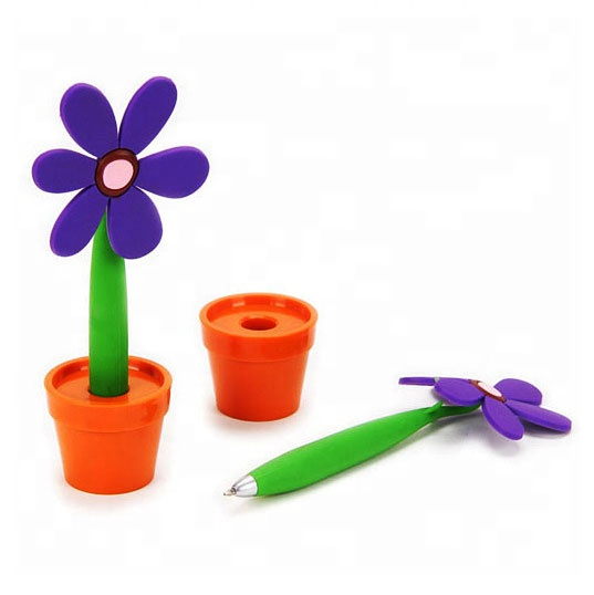 Novelty promotional colorful flower pen with pot for kids gift and company promotion