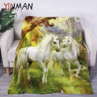 OEM 100%polyester Europe Style painting unicorn digital bedding flannel blanket