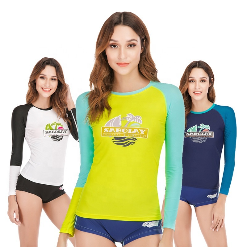 Two piece long sleeve <strong>swimwear</strong> <strong>quick</strong> <strong>dry</strong> rash guard women's <strong>beachwear</strong> with bikini bottoms