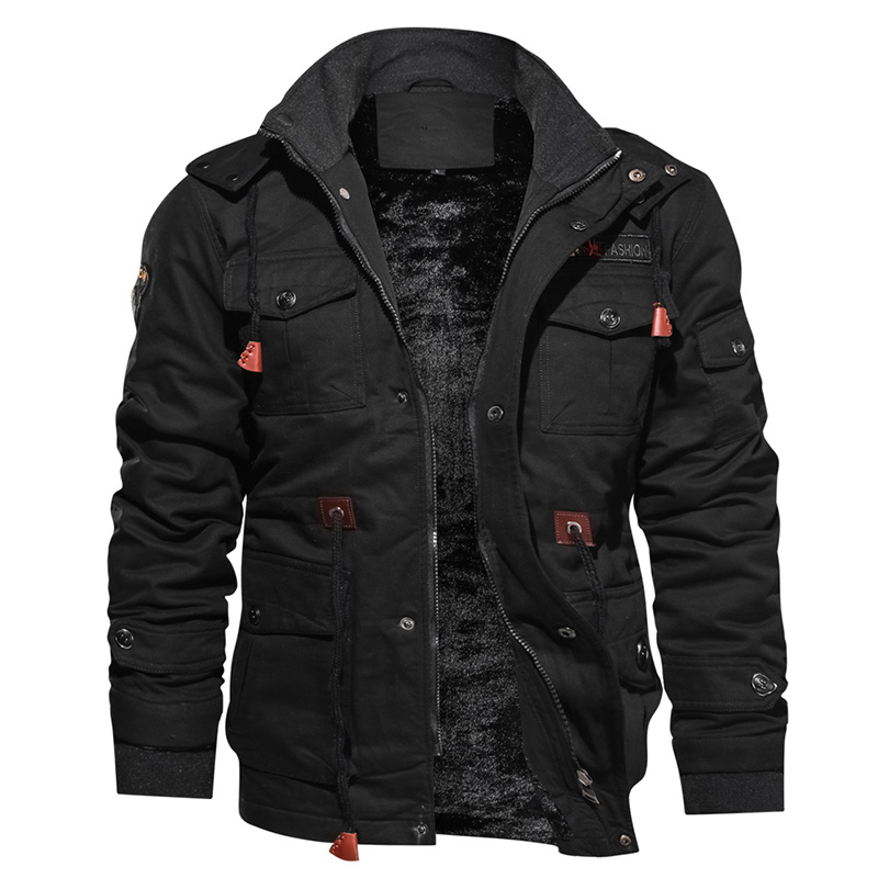<strong>Winter</strong> Thickening Fleece Warm Military Style Track <strong>Jacket</strong> <strong>Men</strong> Plus Size Bomber <strong>Jacket</strong> Coat