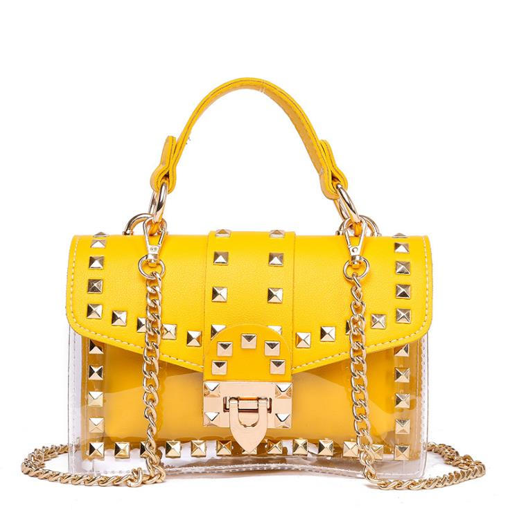 Hot 2020 Wholesale Candy Color Luxury Clear PVC Handbag Rivet Jelly Transparent Tote Purses for <strong>Women</strong>